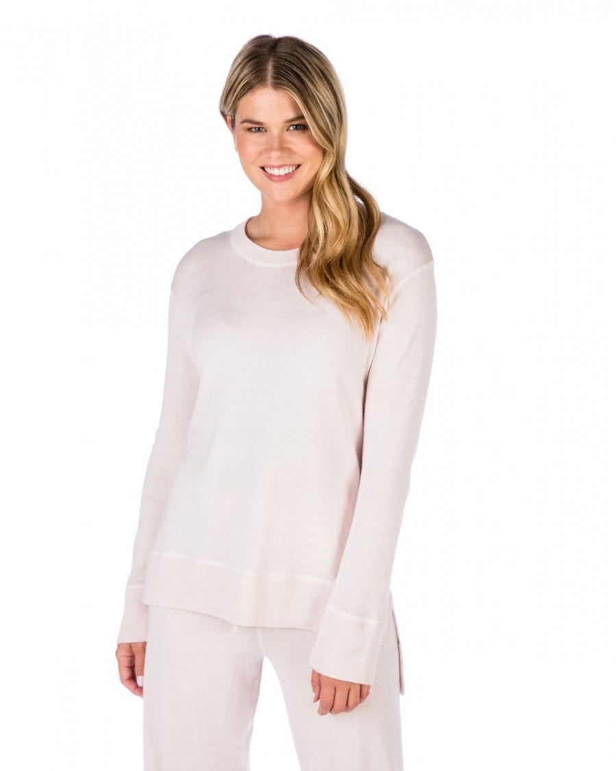 Silk Cashmere High Low Easy Pullover