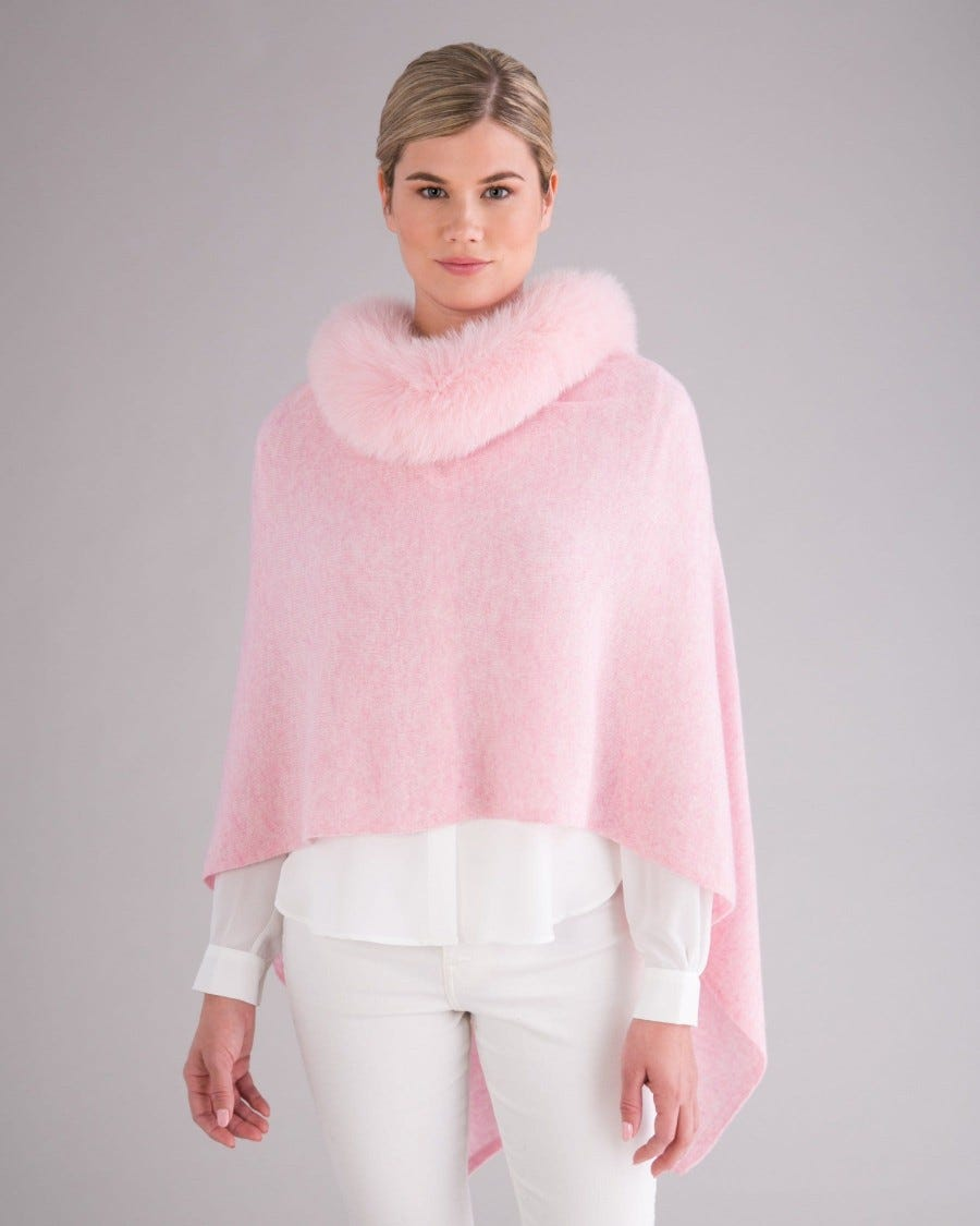 100% Cashmere LUXE Windchill Fox Trim Topper