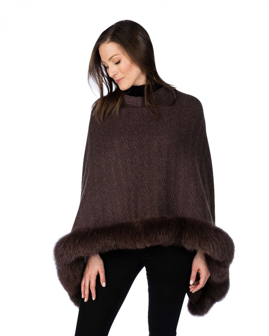 100% Cashmere LUXE North Country Fox-Trim Poncho