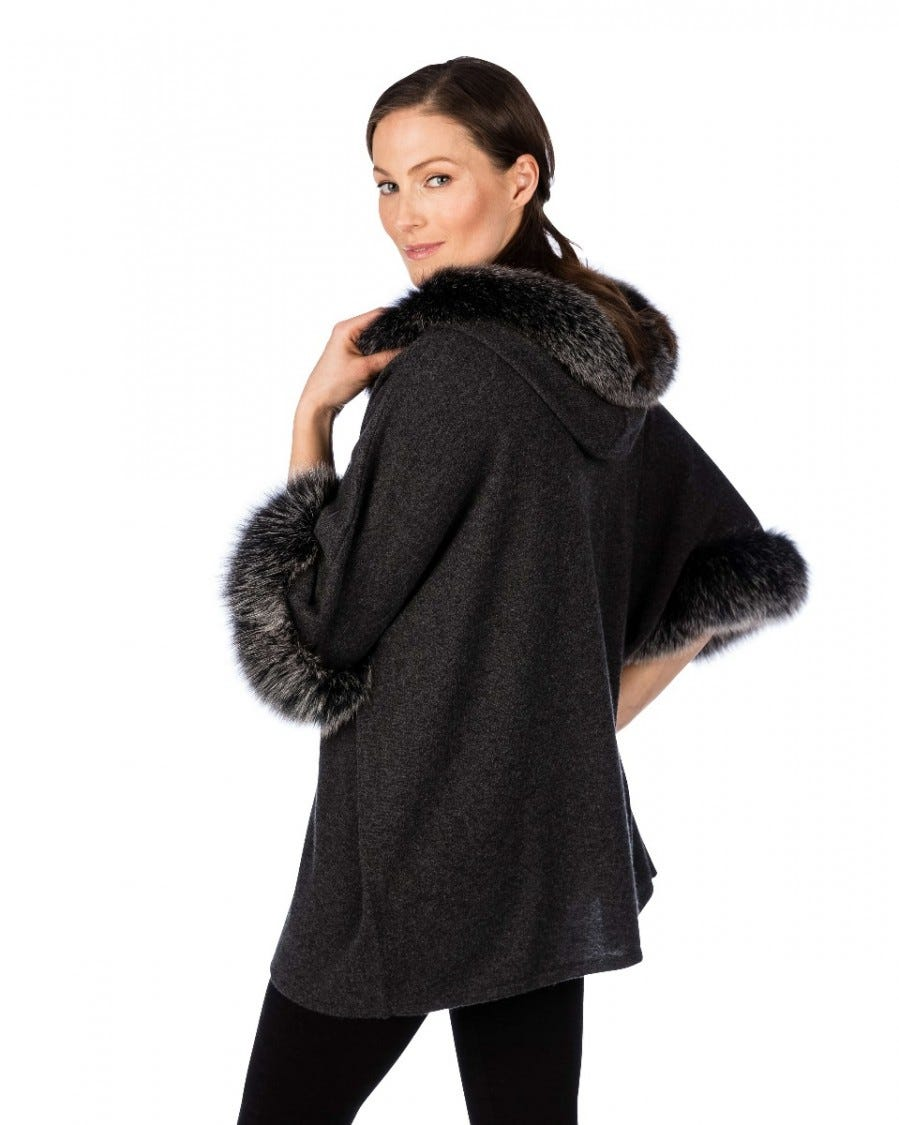 100% Cashmere LUXE Fox Trim Hooded Poncho