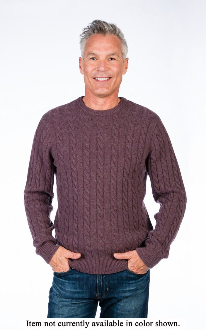 Men's 100% Cashmere Classic Cable Crew Neck