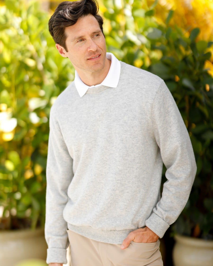 Men's 100% Cashmere Classic Crew Neck