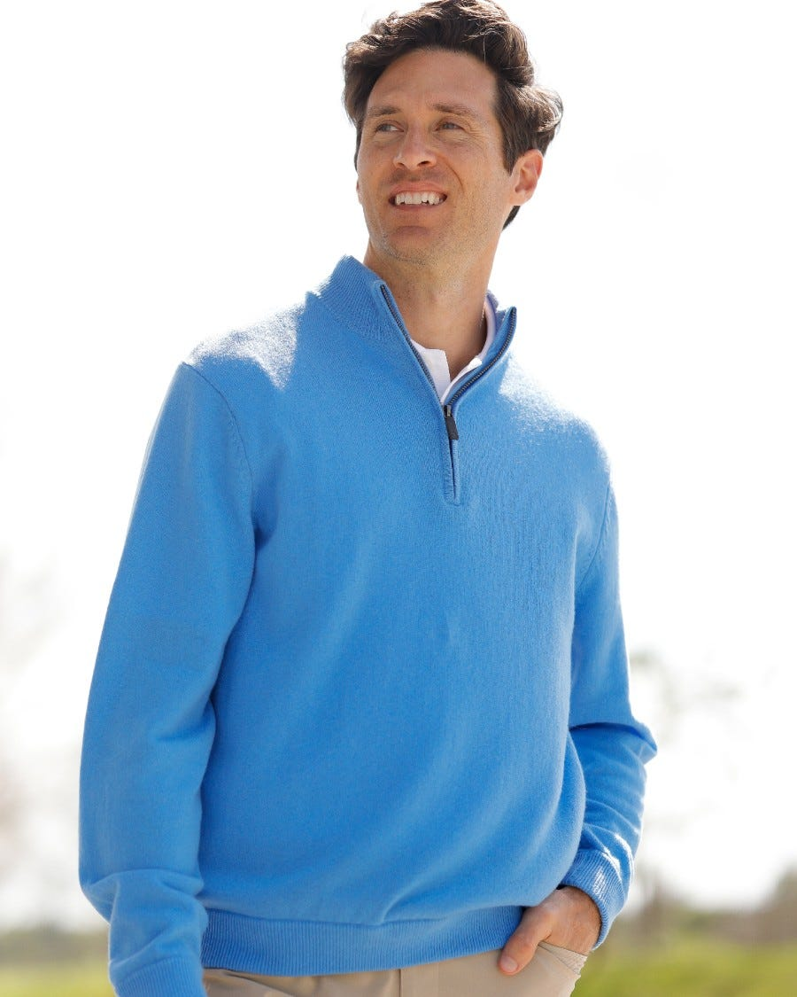 Men's 100% Cashmere 1/4 Zip Mock Neck