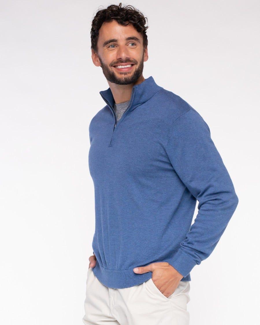 Men's Cotton Cashmere 1/4 Zip Mock Neck Pullover