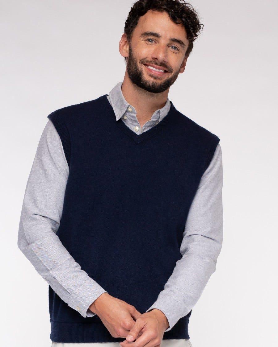 Men's Cotton Cashmere Classic V-Neck Vest