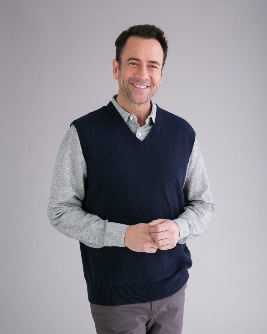 Men's Cotton Cashmere Classic V-Neck Vest