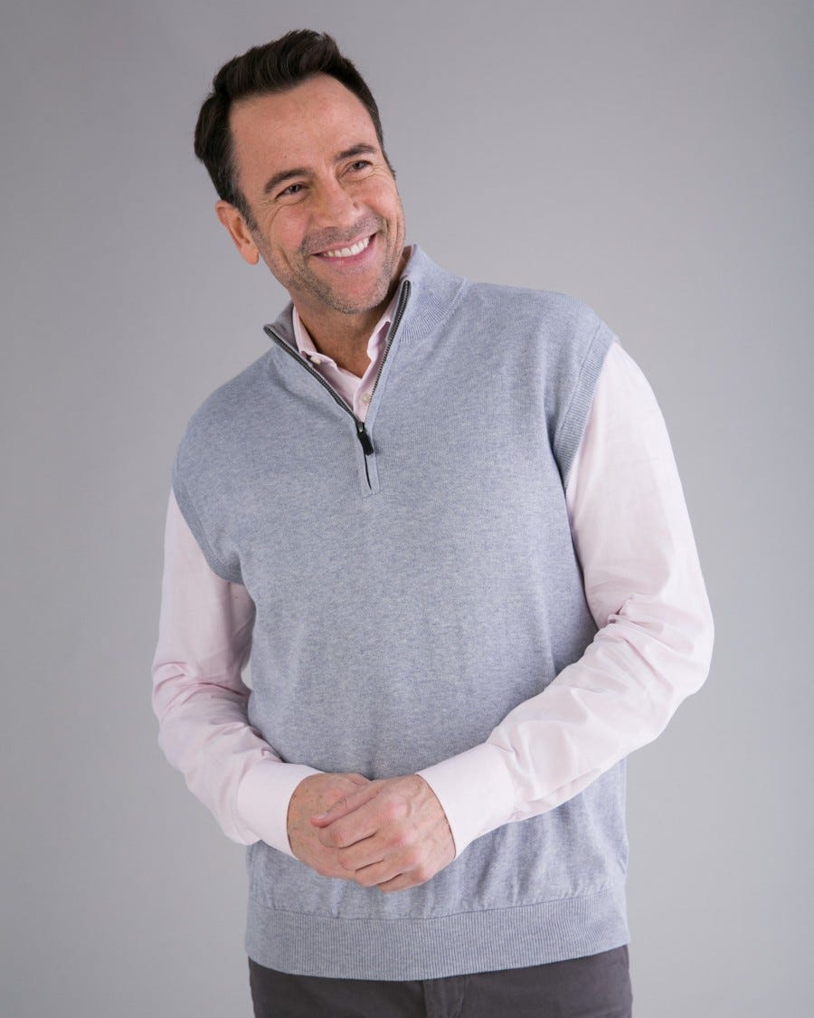 Men's Cotton Cashmere 1/4 Zip Vest