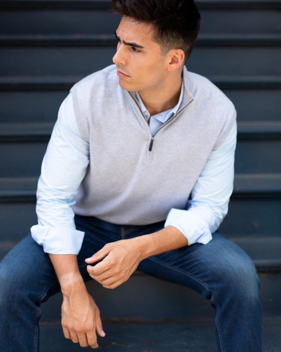 Men's Cotton Cashmere 1/4 Zip Vest