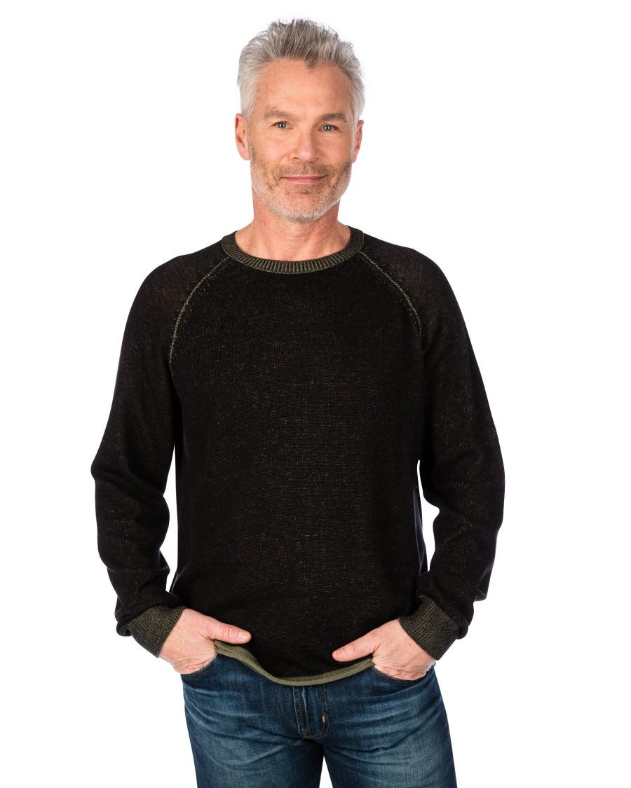Men's Cotton Cashmere Plated Raglan Crew