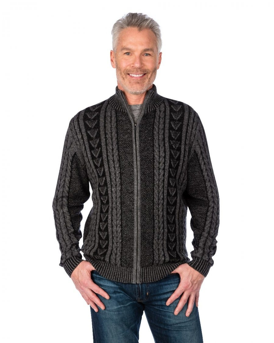 Men's Merino Cashmere Chunky Cable Zip Up