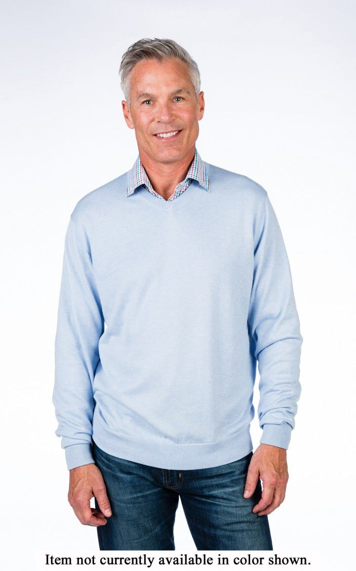 Men's Cotton Cashmere Classic V-Neck Pullover