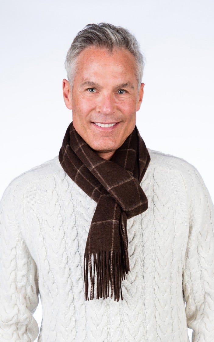 Cashmere Blend Woven Windowpane Scarf