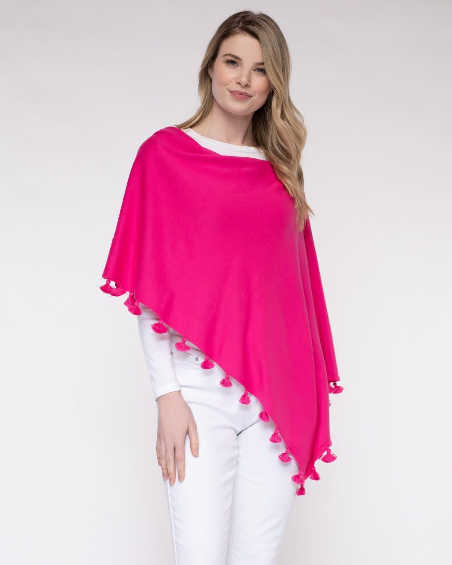 Cashmere Blend Tassel Trim Dress Topper Poncho