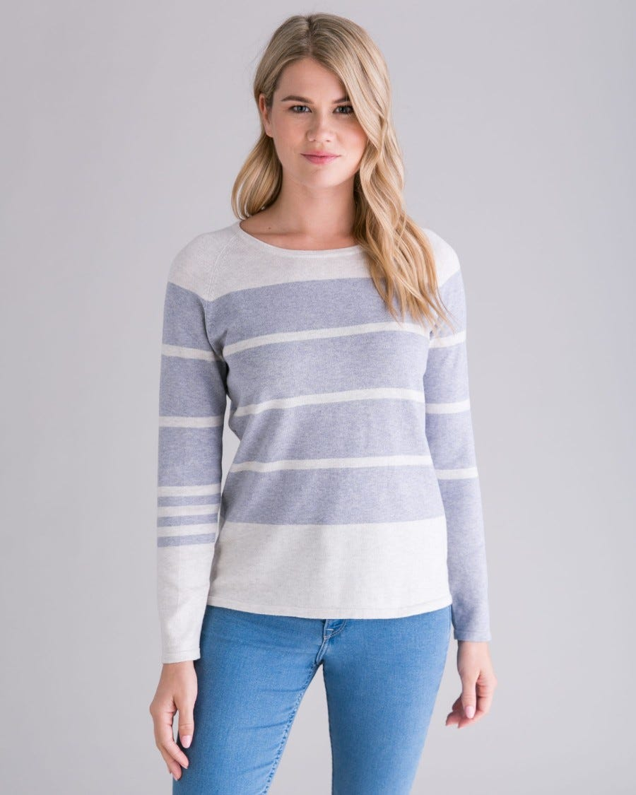 Cotton Cashmere Switch Up Stripe Pullover