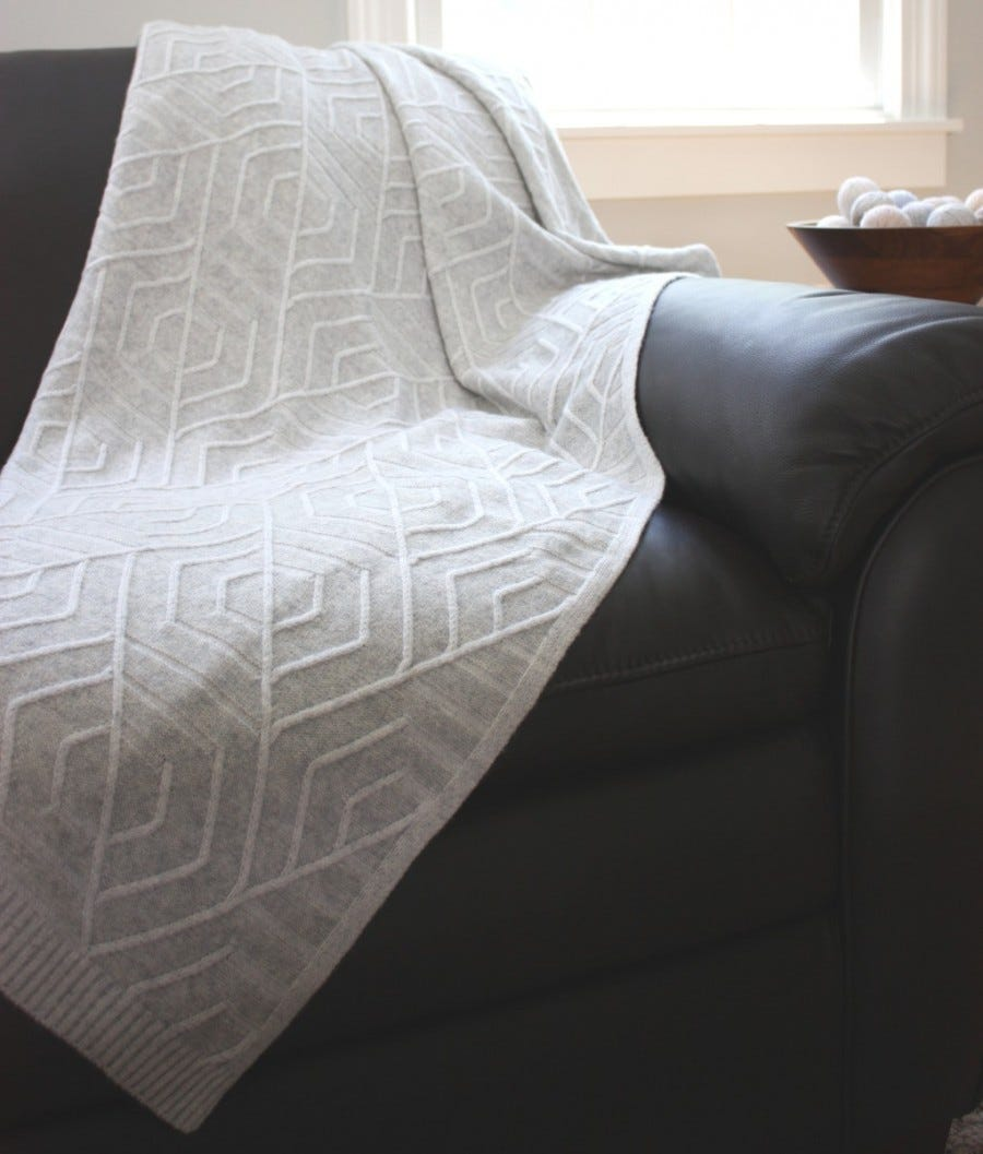100% Cashmere French Deco Knit Throw