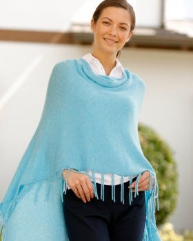 100% Cashmere Fringed Dress Topper Poncho