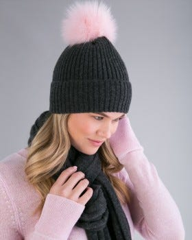 100% Cashmere LUXE Ribbed Fox Pompom Hat